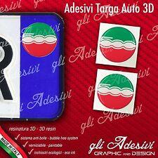2 Adesivi Stickers bollino 3D Resinato targa Auto Moto FIAT 500 Tricolore