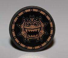 LeGo Pearl Dark Gray Minifig Shield Round Flat w/ Gold Dragon Head Jagged Teeth