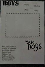 """A4 TRANSPARENCY  """" BOYS WILL BE BOYS""""   29.5 X 21 CM    NEW  SCRAPBOOKING"""