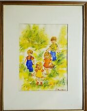Original 1978 Copywritted Watercolor Painting of Children Collecting Wildflowers