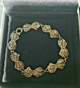 Vintage sterling silver filigree bow design link bangle/bracelet stamped