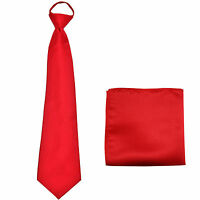 New Polyester Men's ready knot pre tied neck tie & hankie solid formal red