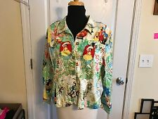 Erin London Womens Jacket Caribbean Cruise Print Scene SZ PXL Pet Xlarge Stretch
