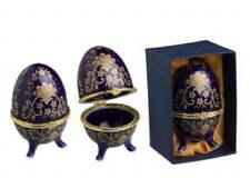 Porcelain Blue & Gold Egg Trinket Box 3x2 inch 3 legged