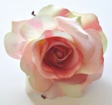 "4.5"" Variegated Pink & Cream Rose Silk Flower Hair Clip Wedding Pin-up Updo"