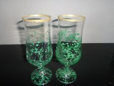 Hand Painted Glasses x 2 = Green/Gold Rim
