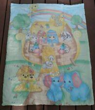 Vintage PRECIOUS MOMENTS Noah's Ark Baby Animals Crib Comforter Baby Blanket