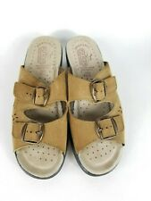 Fly Flot Brown Suede Double Buckle Cutout Leather Comfort Casual Women 38/6.5