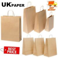BROWN PAPER BAGS WITH HANDLES SMALL LARGE 100 50 10 FOR GIFT SWEET PARTY CARRIER