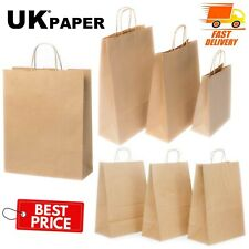 More details for brown paper bags with handles small large 100 50 10 for gift sweet party carrier