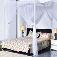 4 Corner Post White Bed Canopy Mosquito Net Full to King Size Netting Bedding