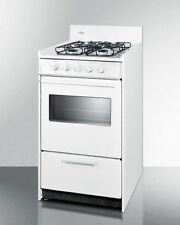 "20"" wide gas range in white with sealed burners, oven window, interior light"