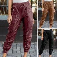 ZANZEA Femme Pantalon en cuir Casual lâche Poches Taille elastique Long Plus