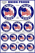 13 Union Proud American Flag Decals, 3 Size, Patriotic Helmet Stickers.