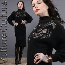 Vintage 80s Goth Sweater Dress SILK Black  Sequin Batwing Angora Knit M/L
