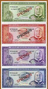 Specimen Set, Tonga, 1;2;5;10 Pa'anga, 1978, P-CS1, With C/A 004148, aUNC