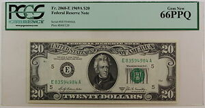 1969-A $20 FRN *E-A* Note, PCGS Gem 66 PPQ, Fr. 2068-E, Federal Reserve