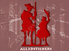 Pegatina Don Quijote y Sancho Panza 3D Relieve - Color Burdeos
