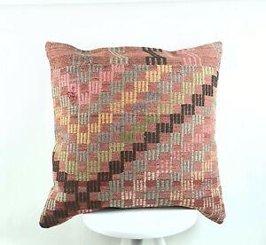 Kilim Pillow Cover 24x24 in Handmade Traditional Oushak Rug Cushion Lumbar 2569
