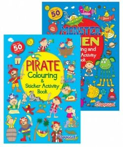Squiggle My Fun Colouring and Sticker Activity Book Pirates & Monsters Kids Boys
