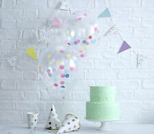 """MULTI COLOURFUL Confetti Filled BALLOONS ~ Luxury Quality Large 12"""" ~ 5pk"""