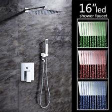 "16"" Bathroom LED Wall Mount Complete Shower Units Set Bathtub Mixer Tap Chrome"