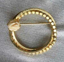 """Elegant Carved Bovine Bone Rose Gold-tone Circle Brooch 1960s vintage 1 1/4"""""""