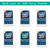 Case of 300 Terry Bar Mop Towels - Cotton Multipurpose White 14 x 17 Reusable