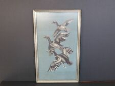 THREE FLYING DUCKS WOVEN FRAMED HANGING