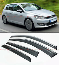 SMOKE TINTED CLIP ON WINDOW VISOR W/ CHROME TRIM FOR 2015-18 VW MK7 GOLF GTI R