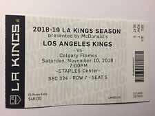 LOS ANGELES KINGS VS CALGARY FLAMES NOVEMBER 10, 2018 TICKET STUB