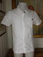 Chemise coton blanc ADIDAS  XS 38 manche courte brodé boutons pressions