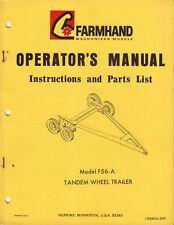Bracciante modello F56-A ~ TANDEM RUOTA RIMORCHIO ~ elenco Parti & Istruzioni Manuale
