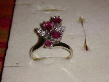 Prächtiger Rubin Diamant Ring 585 WG 14 K   4 Rubine und Diamanten