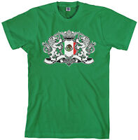 Threadrock Men's Mexico Lion Crest Flag T-shirt Mexican Shield