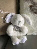 "NEW Morrisons white grey bunny rabbit plush soft toy ribbon 10"" Easter 15cm"