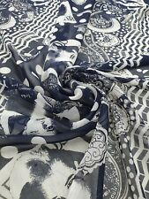 Navy All-Over Patch Printed Chiffon Fabrics for Clothing and Crafts- A274