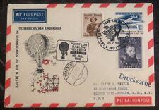 1950 Dornbin Austria Ballon Flight Cover FFC to Roslyn NY USA