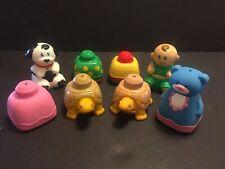 8 Vintage Mega Bloks Baby Soft Blocks Squeak Hard Baby Dog Turtle Bear Toy Build