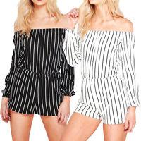 Ladies Stripe Playsuit Bardot Off Shoulder Long Sleeve Jumpsuit Romper Shorts