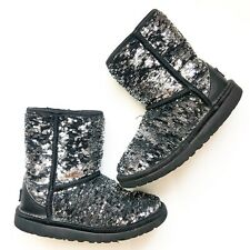 UGG Australia Kid's Black Classic Short Glitter Sequin Boots - Size 1 Youth