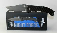 Cold Steel Night Force Damascus Blade Carbon Fiber Handle Pocket Knife 63NF