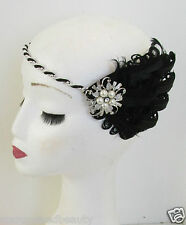 Black & Silver Feather Flapper Headpiece Headband White Vintage 1920s Pearl M25