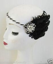 Schwarz & Silber Feder Flapper Stirnband Haarband Weiß Vintage 1920s Perle M25