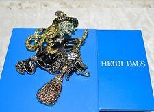 "New $200 HEIDI DAUS ""Heidi On The Stick"" Witch Pin Brooch SWAROVSKI CRYSTALS"