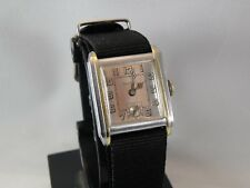 SERVICED 2017...1920`S BULOVA  ART DECO  2 TONE ETCHED...NEW BAND / NEW CRYSTAL