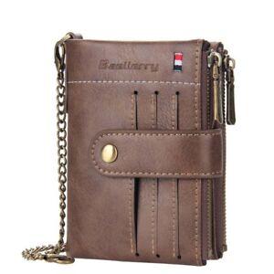 Men Men's Leather Wallet Chain C1 Sim ID Credit Card Holder Double Zipper Coin