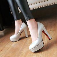 Womens Ladies Fashion Platform Slip On High Heel Pumps Shoes UK Size 1--8 C303