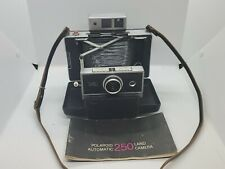 POLAROID AUTOMATIC 250 LAND CAMERA-VINTAGE FILM PHOTOGRAPHY with Manual & Strap