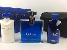 BLV BY BVLGARI COLOGNE 4PC GIFT SET 3.4 + 2.5A/SH + S/GEL 2.5 OZ + POUCH NIB